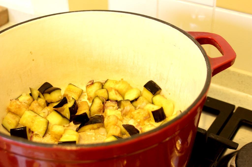 eggplants in pan