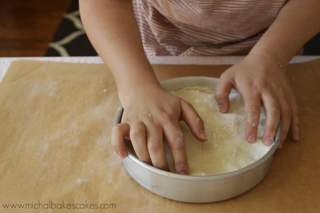 placing dough
